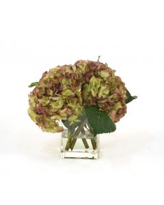 Waterlook® Amethyst Hydrangea Nosegay in Rectangular Glass Vase