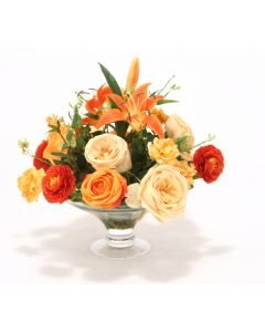Waterlook&Reg; Orange and Gold Roses, Ranunculus, Lilies in Glass Compote