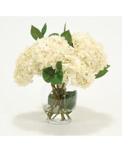 Waterlook® Hydrangeas, Leaves in Glass Vase