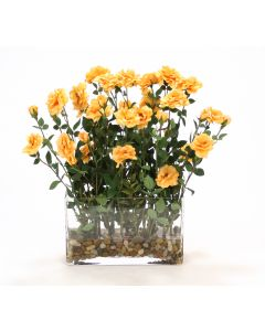 Orange Yellow Rambling Roses with Berries in Glass