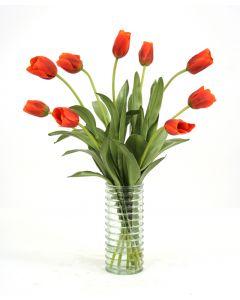 Waterlook® Dark Red Orange Tulips in Light Green Ribbed Vase