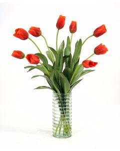 Waterlook® Red-Orange Tulips in Ribbed Light Green Vase
