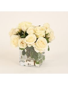 Waterlook® Cream White Roses in Square Glass Vase
