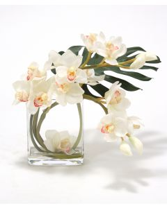 Waterlook® White Orchid Arrangement with Split Philo Leaf in Curved Rectangular Glass Vase
