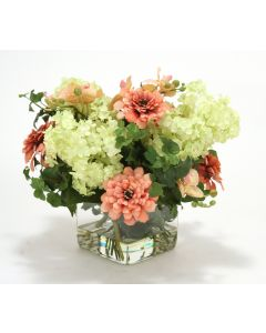 Waterlook® Coral Zinnias and Green Hydrangeas in Glass Cube
