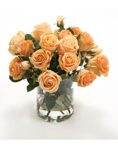 Waterlook® Peach Roses in Glass Cylinder