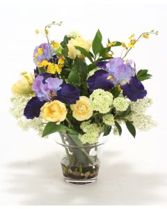 Blue, Ivory, Yellow, Green, and Cream Mix in Glass Flower Pot Vase
