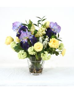 Waterlook® Blue, Ivory, Yellow, Green and Cream Mix in Glass Flower Pot Vase
