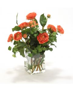 Waterlook® Rust-Red Ranunuculus, Greenery in Tall Glass Square