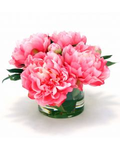 Waterlook® Hot Pink Peonies in Round Glass Vase