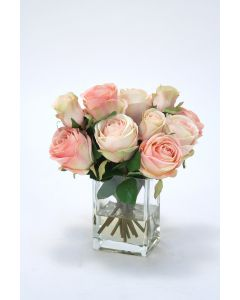 Waterlook® Cream Pink Roses and Rose Buds in Tall Glass Square