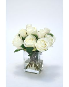 Waterlook® Cream White Roses in Tall Glass Square