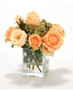 Waterlook® Peach Roses in Square Glass Vase