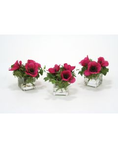 Waterlook&Reg; Dark Violet Anemones and Ivy in Square Glass Vase (Set of 3)