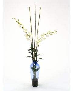 Waterlook® White Dendrobium Orchid with Bamboo in Blue Victorian Glass Vase