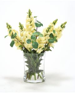 Waterlook® Yellow Snapdragons & Greeneryin Eliptical Vase