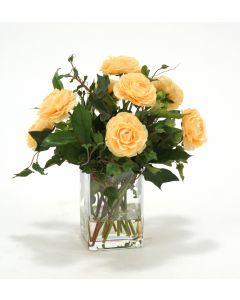 Waterlook&Reg; Apricot-Yellow Ranunculus with Ivy and Basil in Square Glass Vase