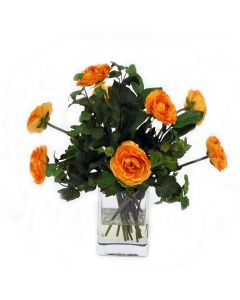 Waterlook® Gold Ranunculus with Ivy and Basil in Square Glass Vase