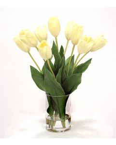 Waterlook® White Dutch Tulips in Glass Cylinder