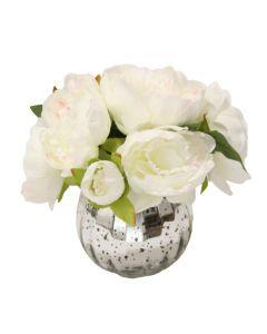 Waterlook® White Peonies in Mercury Glass