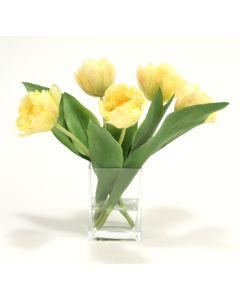 Waterlook® Yellow Parrot Tulips in Rectangular Glass Vase