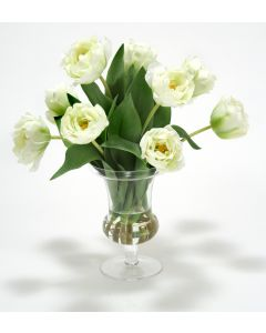 Waterlook® White-Green Parrot Tulips in Glass Urn