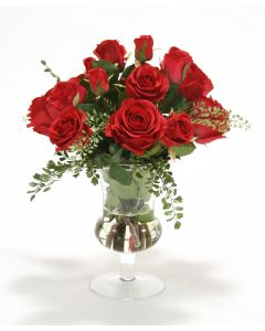 Waterlook® Red Roses and Fern in Clear Glass Urn
