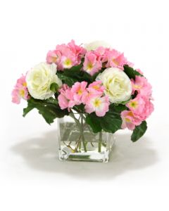 ***Discontinued***Waterlook® Pink Primrose and Ranuculas in Rectangular Glass Vase