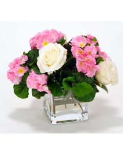 Waterlook® Pink Primrose with White Roses in Glass