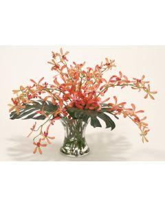 Waterlook® Vanda Orchid and Split Philo Leaf in Hourglass Vase