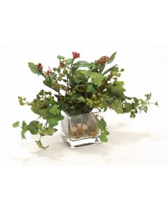 Waterlook® Mixed Greenery, Burgundy-Green Berries in Glass Cube