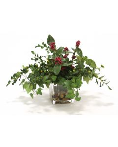 Waterlook® Mixed Greenery, Plum Berries in Glass Cube
