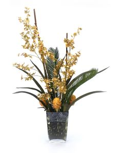 Oncidium Orchids with Palm and Honey Comb Proteas