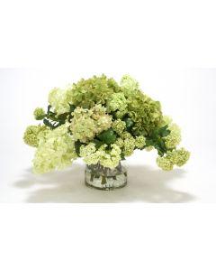 Waterlook® Green-Cream Hydrangeas and Snowballs in Glass Cylinder