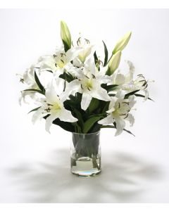 Waterlook® White Casablanca Lilies in Glass Cylinder