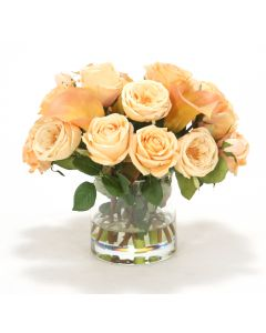 Waterlook® Cream-Peach and Champagne Yellow Roses, Rose-Cream Calla Lilies in Glass Cylinder