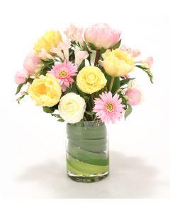 Waterlook® Pastel Ranunculus, Gerbera Daisies, Freesia, Peonies in Glass Vase