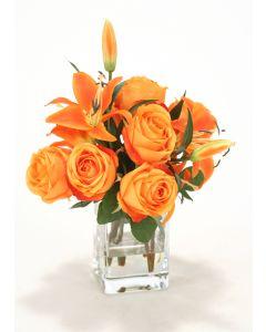 Waterlook® Orange Rose, Lilies in Square Glass Vase