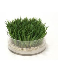Waterlook® Grass with Sand-N-Stones in Low Glass Bowl