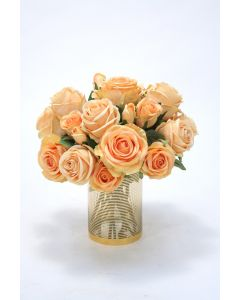 Waterlook® Peach Roses in Gold Ringed Class Cylinder Vase