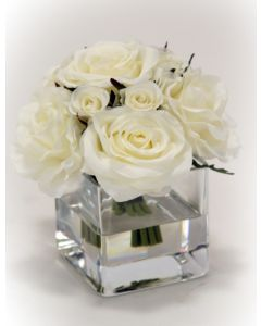 Waterlook® Cream White Rose Bouquet in Glass Square Vase