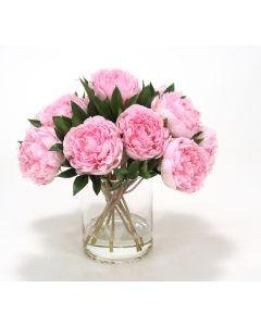 Waterlook&Reg; Pink Peonies in Glass Cylinder