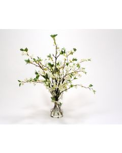 Waterlook® White Cherry Blossoms in Clear Glass Cylinder
