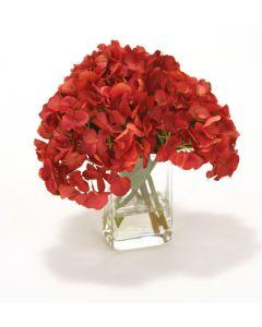 Waterlook® Dark Red Hydrangea in Square Glass Vase