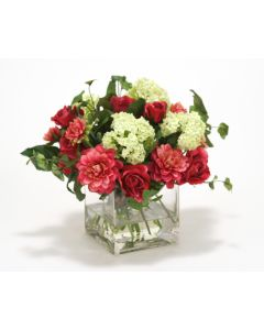 Waterlook® Fuschia Dahlia and Roses, Cream Green Snowballs in Glass Cube