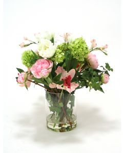 Waterlook® Pink Peonies, Cream Ranunculus and Green Hydrangea in Clear Glass Vase