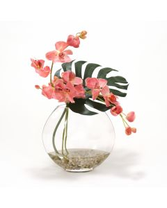 Waterlook® Mauve Orchid and Split Philo Leaf in Glass Disk Vase