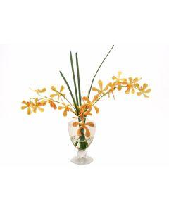 Waterlook® Yellow-Orange Vanda Orchids, Grass in Glass Urn