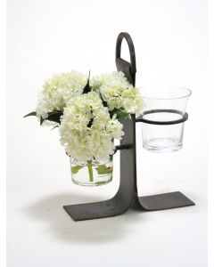 Waterlook® White Hydrangeas in Cylinder Glass Vase in Wrought Iron Stand