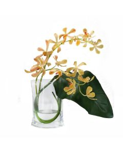 Waterlook® Gold Vanda Orchids with Tropical Leaf in Disk Vase
